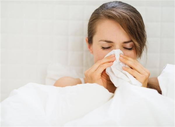 Woman With Flu Laying In Bed1